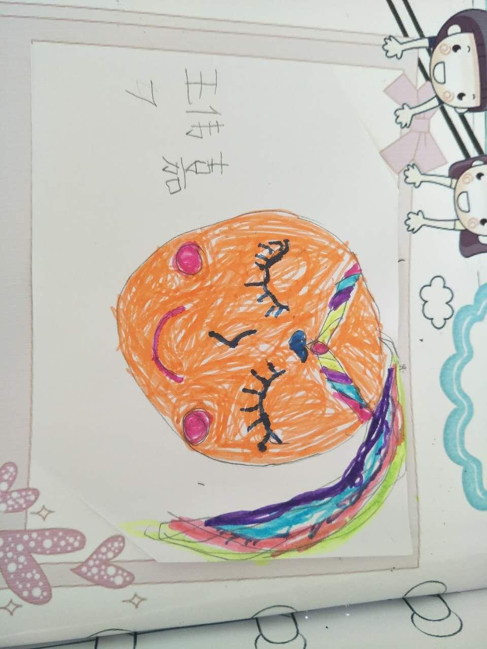 之后用水彩笔在自画像的各个部分涂上自己喜欢的不同的颜色.